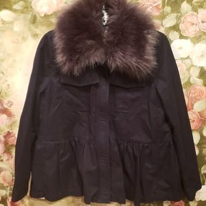 Kate Spade Sz S faux fur trim military jacket